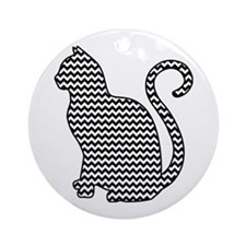 Black and White Chevron Cat Round Ornament