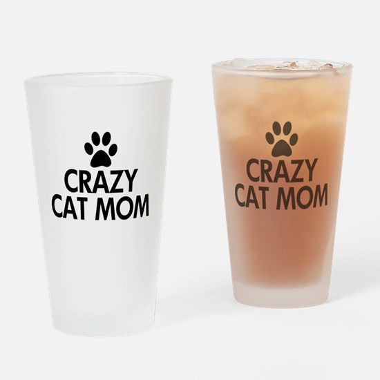 Crazy Cat Mom Drinking Glass