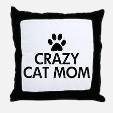 Crazy Cat Mom Throw Pillow