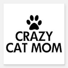 """Crazy Cat Mom Square Car Magnet 3"""" x 3"""""""