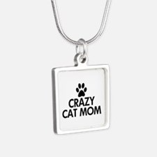 Crazy Cat Mom Silver Square Necklace