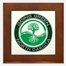 Going Green North Dakota (Tree) Framed Tile