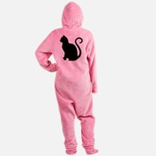 Funny Black cat Footed Pajamas