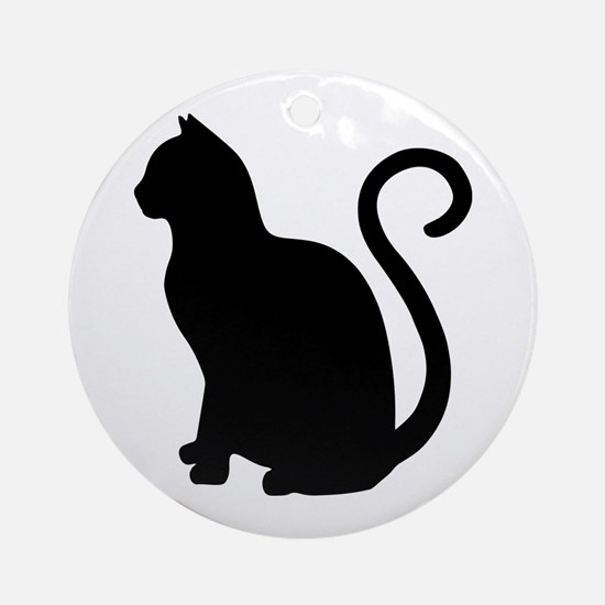 Black Cat Silhouette Round Ornament