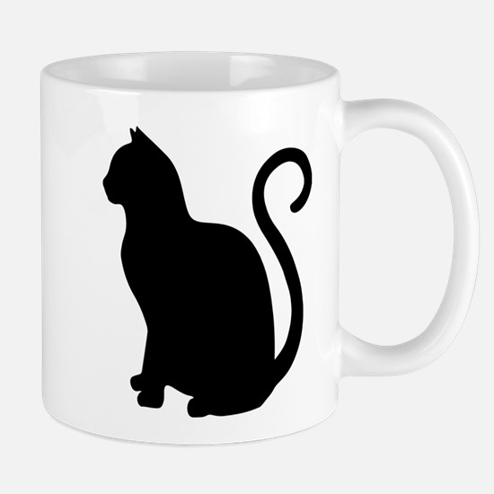 Black Cat Silhouette Mugs