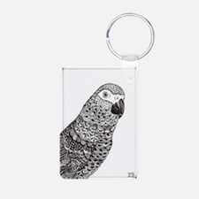 African Grey Zentangle Keychains