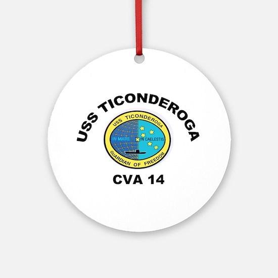 USS Ticonderoga CV 14 Ornament (Round)