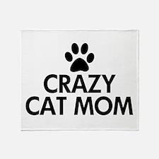 Crazy Cat Mom Throw Blanket