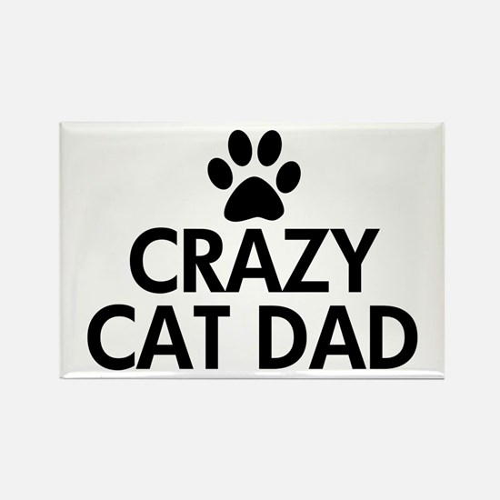 Crazy Cat Dad Rectangle Magnet
