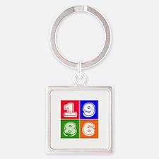 1986 Birthday Designs Square Keychain