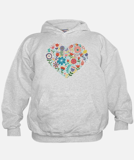 Cute Colorful Floral Heart Hoodie