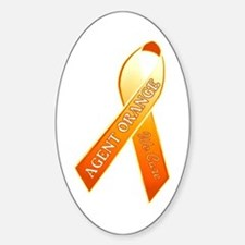 We Care Orange Ribbon Sticker (oval)