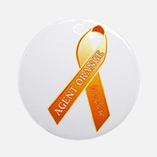 We Care Orange Ribbon Round Ornament