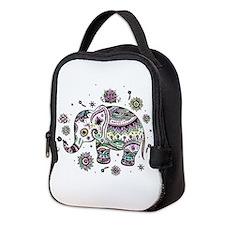 Cute Pastel Colors Floral Eleph Neoprene Lunch Bag