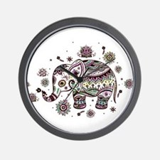 Cute Pastel Colors Floral Elephant Wall Clock