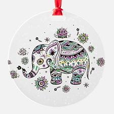 Cute Pastel Colors Floral Elephant Ornament