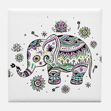 Cute Pastel Colors Floral Elephant Tile Coaster