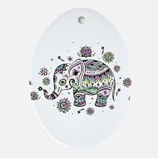 Cute Pastel Colors Floral Elephant Oval Ornament
