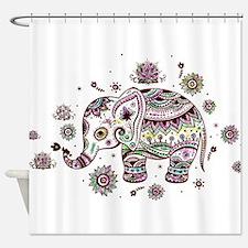 Cute Pastel Colors Floral Elephant Shower Curtain