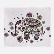 Cute Pastel Colors Floral Elephant Throw Blanket