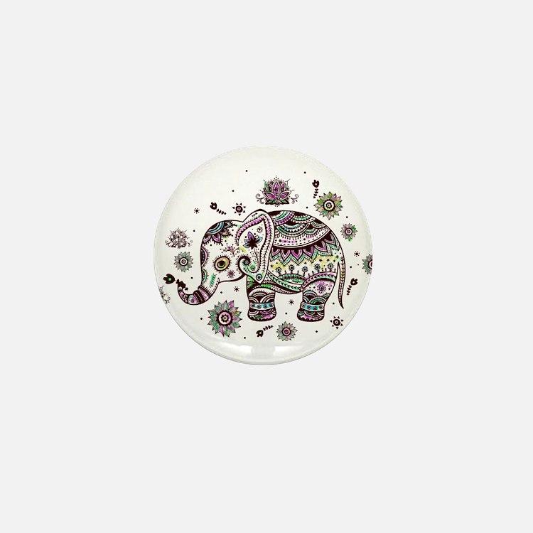 Cute Pastel Colors Floral Elephant Mini Button