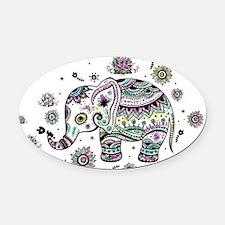 Cute Pastel Colors Floral Elephant Oval Car Magnet