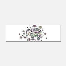 Cute Pastel Colors Floral Elepha Car Magnet 10 x 3