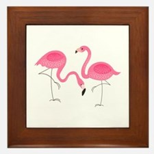 Cute air Of Pink Flamingos Framed Tile