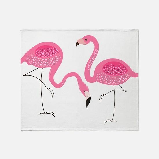 Cute air Of Pink Flamingos Throw Blanket