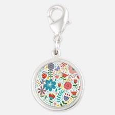 Cute Colorful Floral Heart Charms