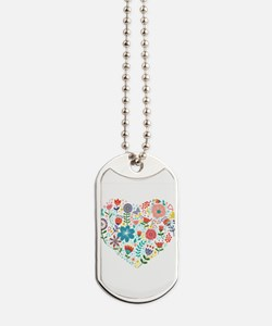 Cute Colorful Floral Heart Dog Tags