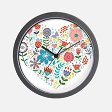 Cute Colorful Floral Heart Wall Clock