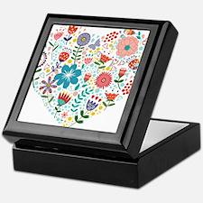 Cute Colorful Floral Heart Keepsake Box