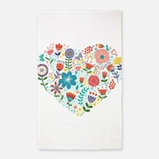 Cute Colorful Floral Heart Area Rug