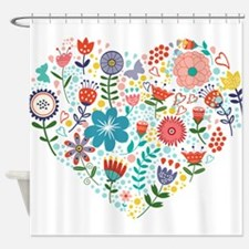 Cute Colorful Floral Heart Shower Curtain