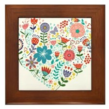 Cute Colorful Floral Heart Framed Tile