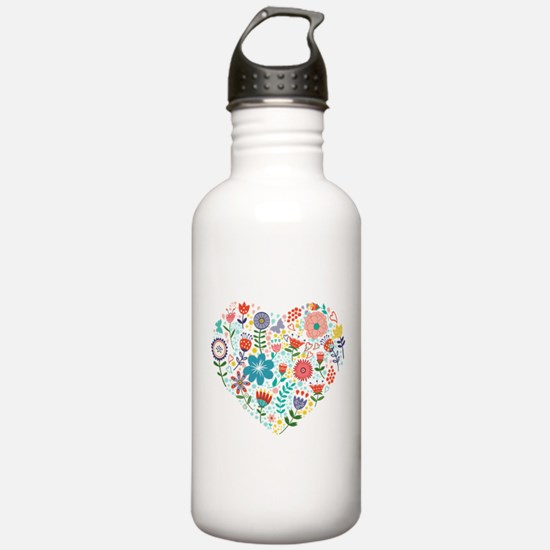 Cute Colorful Floral H Sports Water Bottle