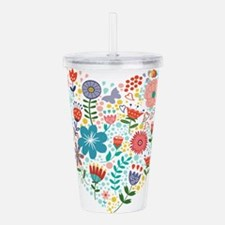 Cute Colorful Floral H Acrylic Double-wall Tumbler