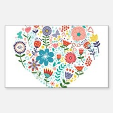 Cute Colorful Floral Heart Decal