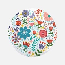 "Cute Colorful Floral Heart 3.5"" Button (100 pack)"