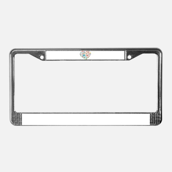 Cute Colorful Floral Heart License Plate Frame