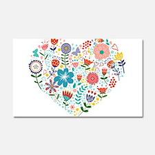 Cute Colorful Floral Heart Car Magnet 20 x 12