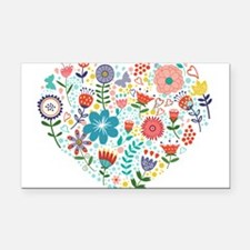 Cute Colorful Floral Heart Rectangle Car Magnet