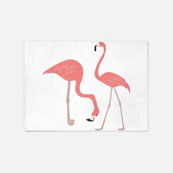 Cute Pink Flamingos 5'x7'Area Rug