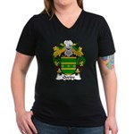 Queipo Family Crest Women's V-Neck Dark T-Shirt