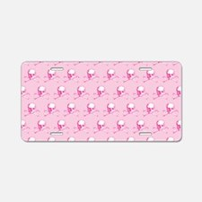 Pink Skull And Crossbones P Aluminum License Plate