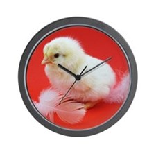 chicks in red Wall Clock