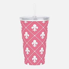 Pink Fleur De Lis Pattern Acrylic Double-wall Tumb