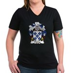 Porras Family Crest Women's V-Neck Dark T-Shirt