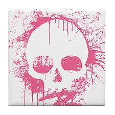 Pink Sprayed Skull Tile Coaster